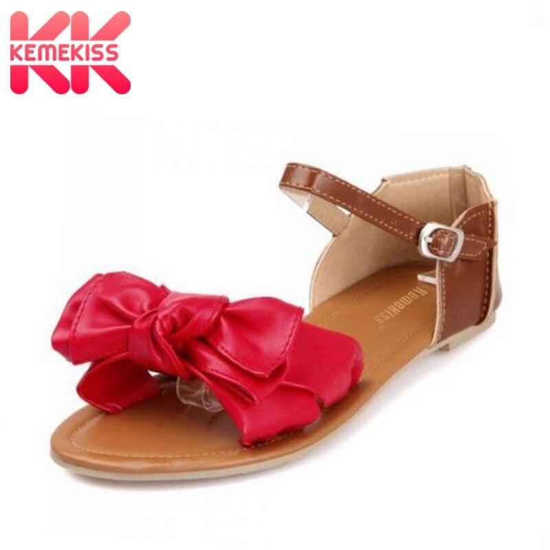 KemeKiss plus size 31-45 women sandals bohemia bowknot ankle wrap flat sandals brand fashion ladies footwear women shoes P23538 side bowknot embellished plus size sweatshirts page 7