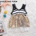 2017 весна лето baby girl dress блесток полосой детские girls party dress новорожденных принцесса свадебное dress 1 год рождения dress
