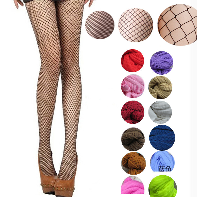 Women pantyhose Multicolor fishnet stockings colored small middle big mesh fish nets tights anti hook nylon dance collant panty(China)