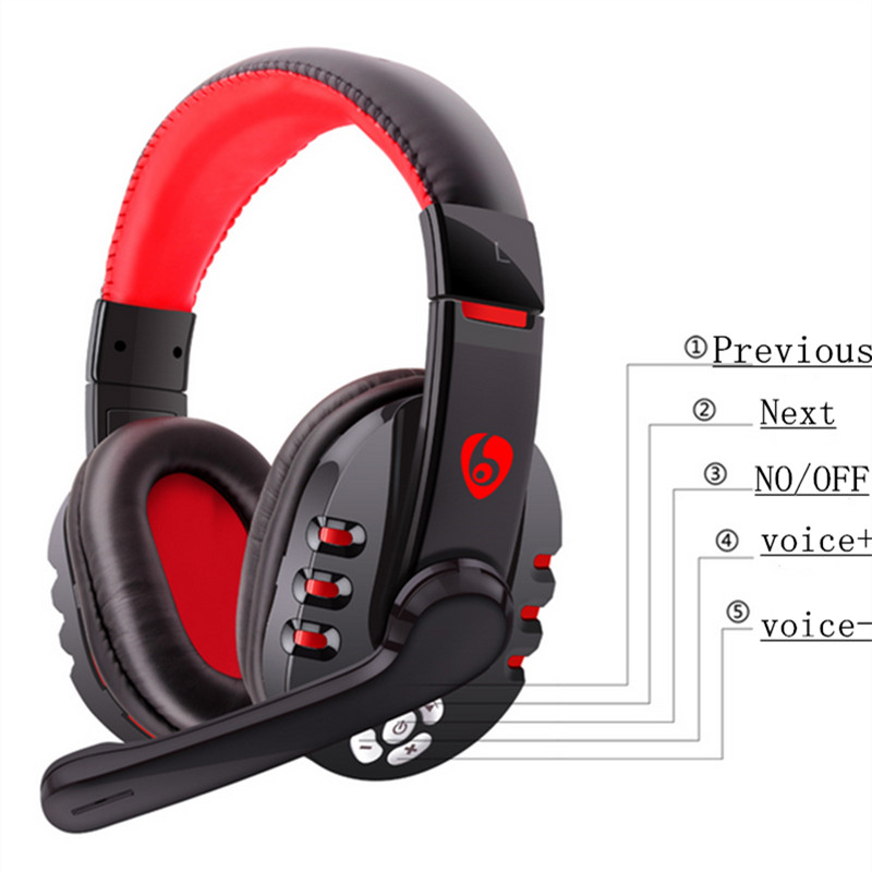 OVLENG V8 Wireless Headphones Bluetooth V4.0+EDR Stereo Over-ear with Mic for Gaming iPhone Samsung 4 5 6 Android Phone Black