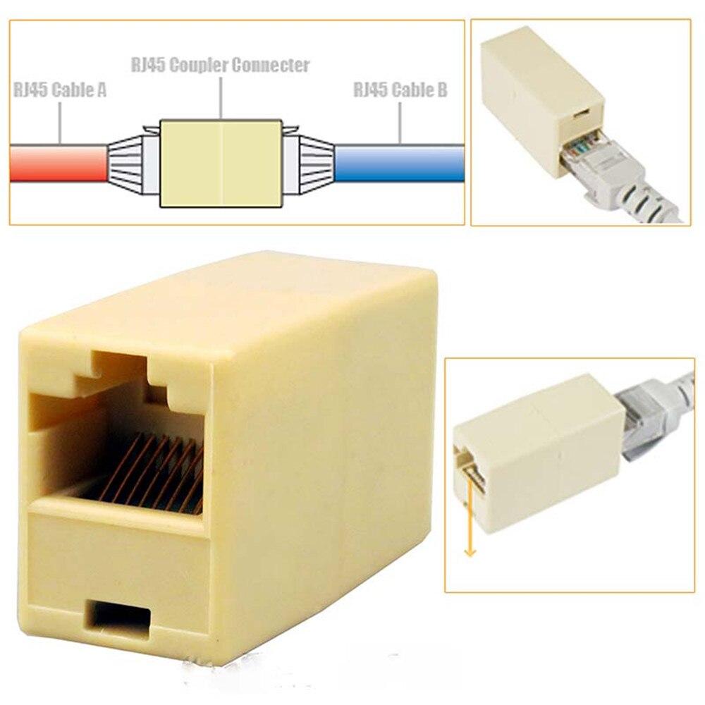 5PCS/10PCS Cat5 RJ45 Lan Network Ethernet Cable Extender Joiner Adapter Coupler Connector F rj45 network internet lan connector adapter extender injector for mini dual interfaces