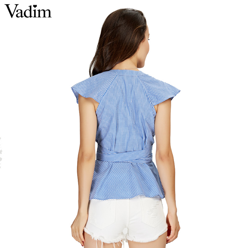HTB1pdmoSXXXXXXDapXXq6xXFXXX6 - Women sweet ruffles striped blue v-neck short sleeve