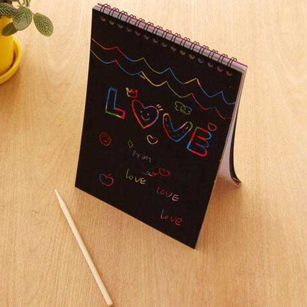 Fun DIY Doodling Scratch Painting Book Kids Children Educational Toys (Size: 10cm x 14cm) ...