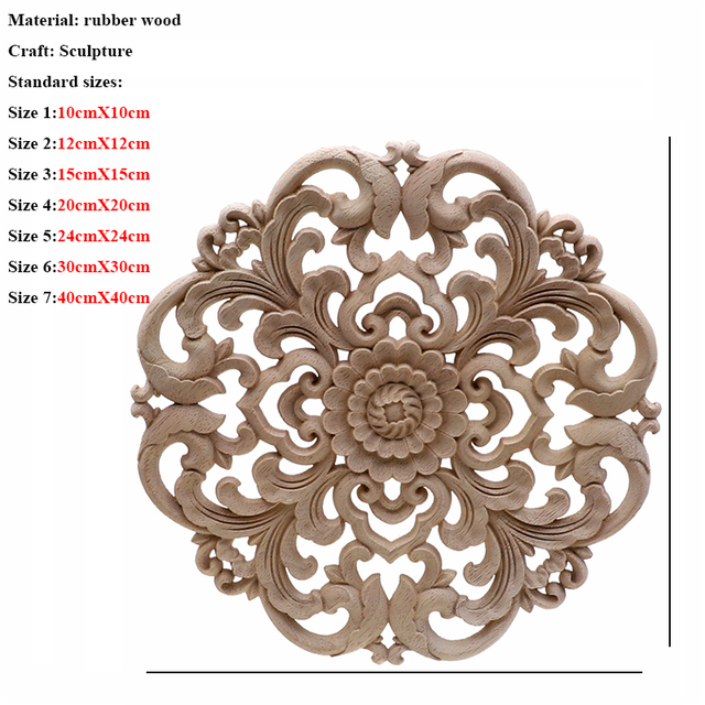 Vintage Unpainted Wood Carved Decal Corner Applique Frame For Home Furniture Wall Cabinet Door Decorative Wooden Miniature Craft 3