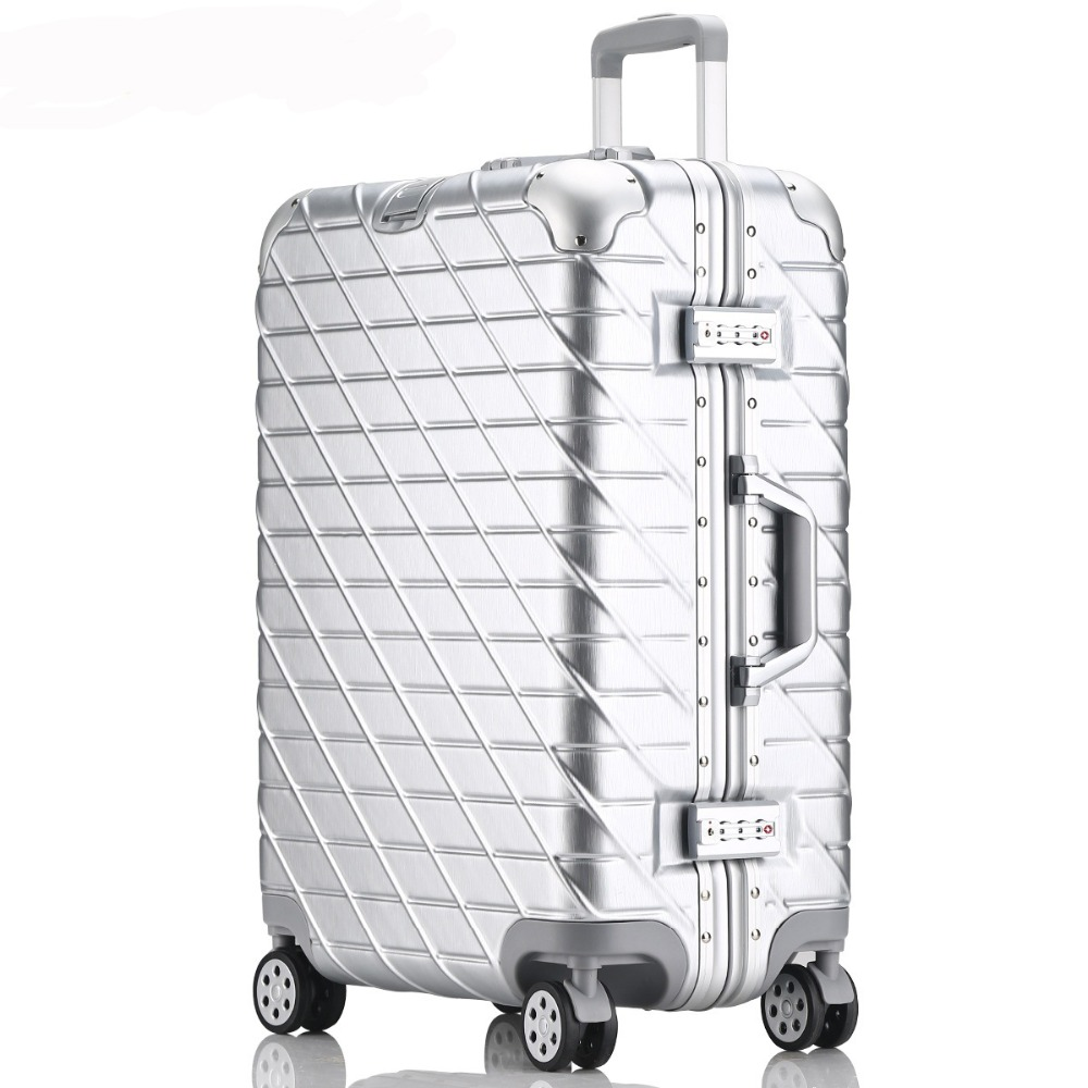 20''24''26''29'' Aluminum Rolling Luggage Spinner Travel Suitcase TSA Lock Cabin Luggage Women Boarding Box Carry On Bag Trolley vintage suitcase 20 26 pu leather travel suitcase scratch resistant rolling luggage bags suitcase with tsa lock