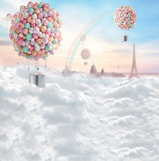 10x20ft Up Air Balloons Clouds Rainbow Sky Eiffel Tower Photography Backgrounds Studio Backdrops Vinyl  for Children Kids blue sky white clouds baby pilot photography backdrops vinyl printed toy aircraft kids boy photo shoot backgrounds for studio
