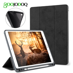 For iPad Pro 12.9 Case with Pencil Holder, GOOJODOQ Premium PU Leather TPU Soft Cover for iPad Pro 12.9 Case Smart Pen Holder