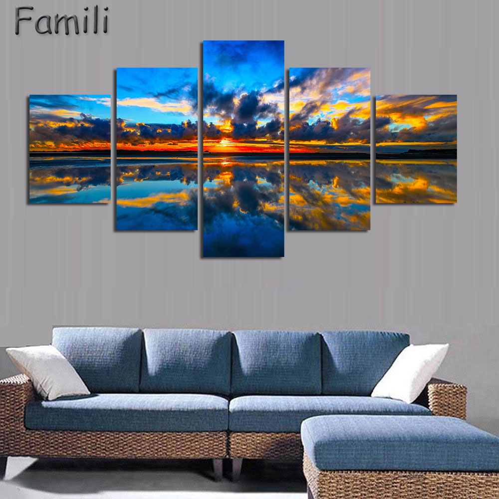 5pcs set wall art painting new zealand blue water lake mountain pictures prints on canvas landscape decornordic decoration in painting calligraphy from