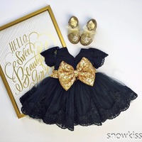 Black baby girl mini summer dress lace appliques toddler pageant party dresses with gold sequin bow sweet outfits