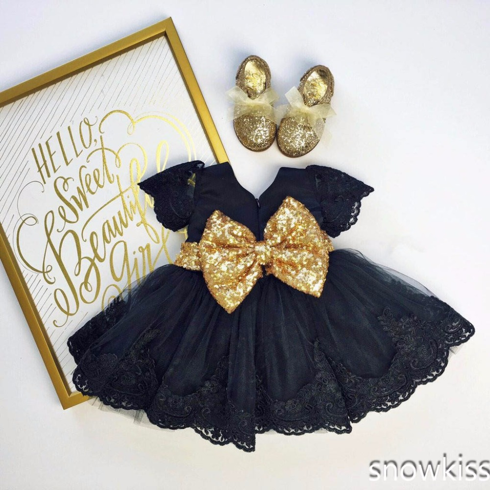 Black baby girl mini summer dress lace appliques toddler pageant party dresses with gold sequin bow sweet outfits see thru mini lace dress
