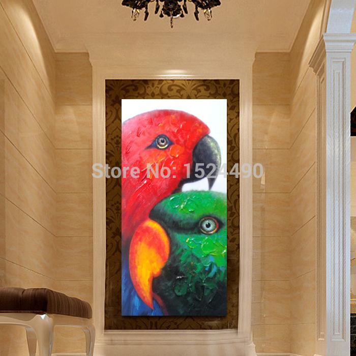 Livraison gratuite peint à la main animaux modernes coloré africain Lovebird peinture à l'huile sur toile Art mural peinture salon décor - 4