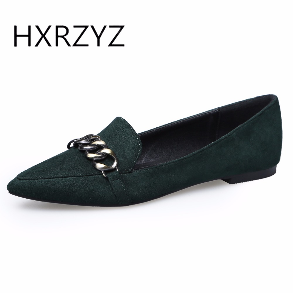HXRZYZ large size women black flat shoes pointed toe metal buckle flock casual shoes spring/autumn new fashion ladies loafers memunia 2017 fashion flock spring autumn single shoes women flats shoes solid pointed toe college style big size 34 47