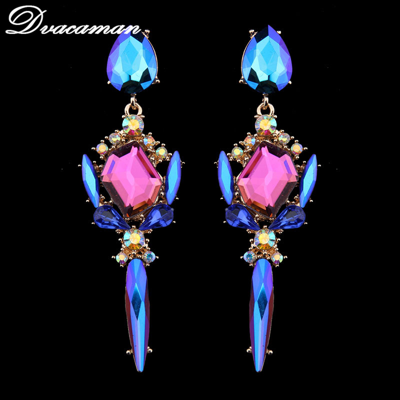 Dvacaman 2017 Brand Fashion Women Statement Luxury 2 Colors Crystal Stud Earring for Women Girl Statement Earring Wholesale 7526