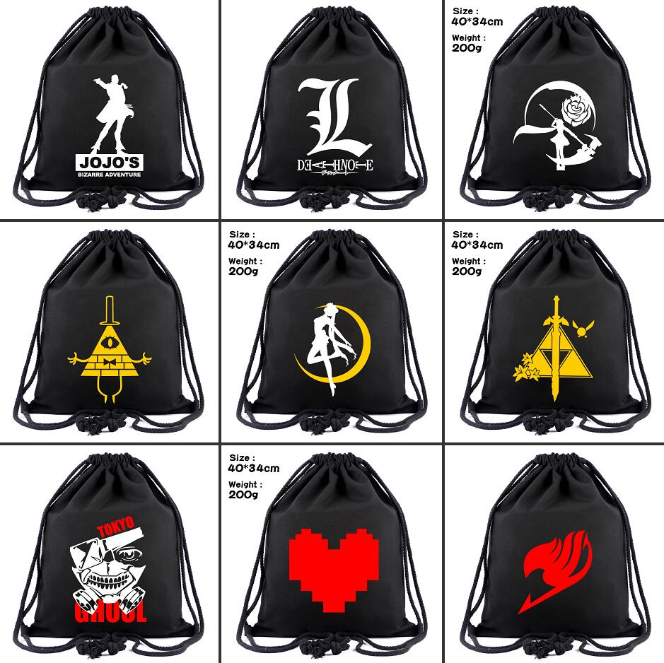 Anime Cartoon Canvas Drawstring Backpack Sailor Moon RWBY JoJo's Women Fashion Cosmetic Container Casual Beach Bag Shoes Pouch
