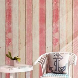 Image 2 - Винтажные деревянные полосатые обои, Современные Простые обои для гостиной, спальни, кабинета, домашний декор, самоклеящиеся водонепроницаемые настенные рулоны наклеек из ПВХ