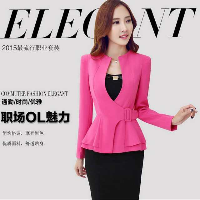 b51e26c64dd placeholder 2016 Hot Sale Women Office Skirt Suit Work Formal Suits Blazer  Long Sleeve Business Elegant Skirt