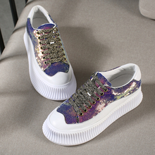 VALLU 2019 Women Summer Flat Platform Shoes Lace Up Colorful Sneakers Lady Round Toes Casual