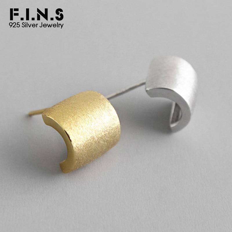 F.I.N.S 100% 925 Sterling Silver Earrings Arc-Shaped Minimalist Stud Earrings INS Style Brushed Korean Earrings Fashion Jewelry