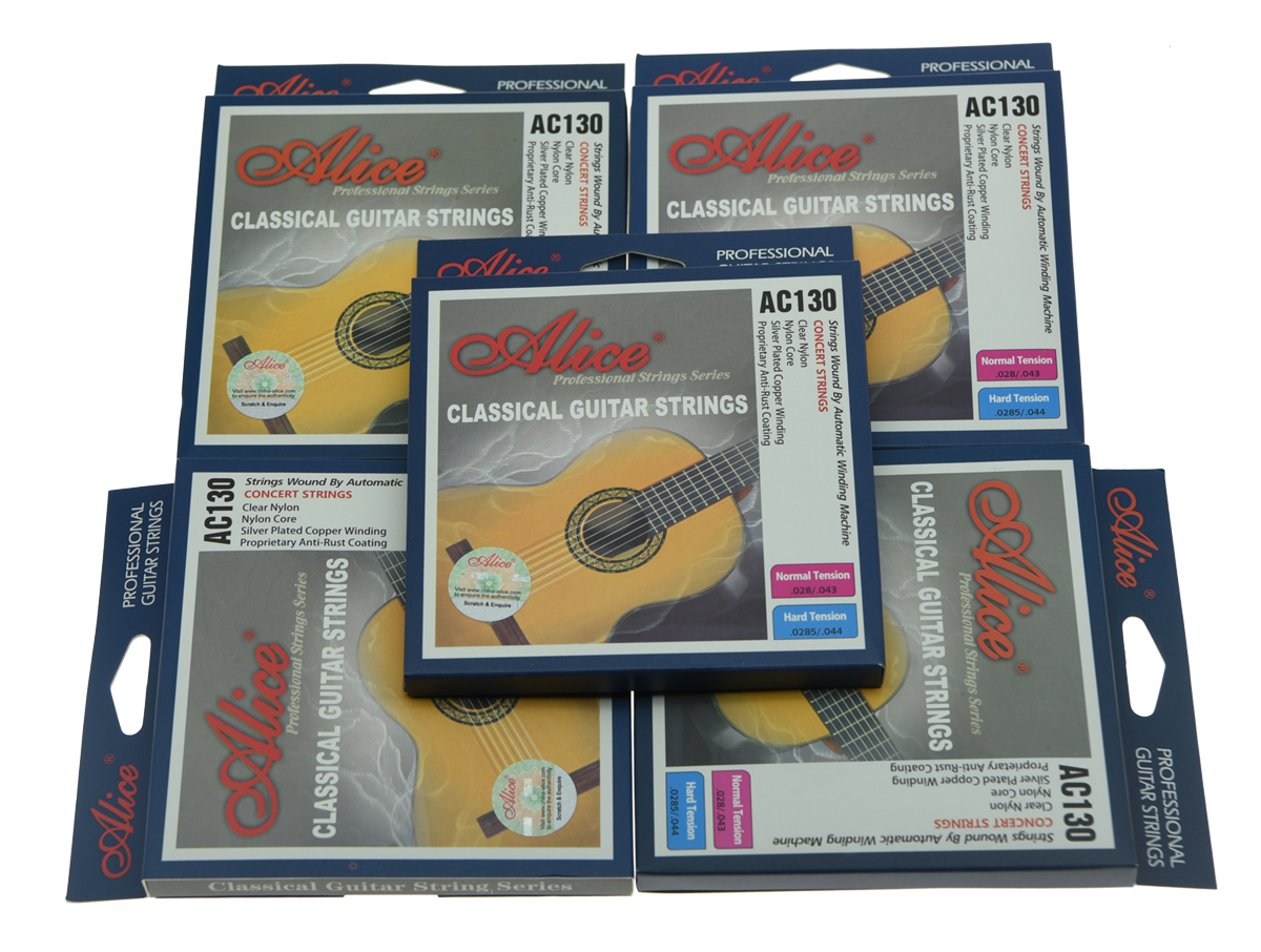 5 Sets Alice Clear Nylon Classical Guitar String Normal Tension Silver Plated Copper Wound Strings classical guitar strings set cgn10 classic nylon silver plated normal tension 028 045 classical guitar strings 6strings set
