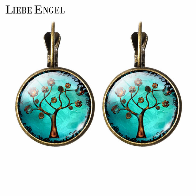 LIEBE ENGEL Vintage Stud Earring Life Tree Picture Glass Cabochon Earrings For Women Bronze Color Jewelry Christmas Gifts