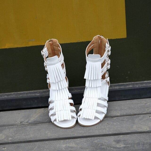 Verano de los niños 2019 niñas princesa zapatos alto bote con flecos botas cool girl hollow Open toe sandalias romanas