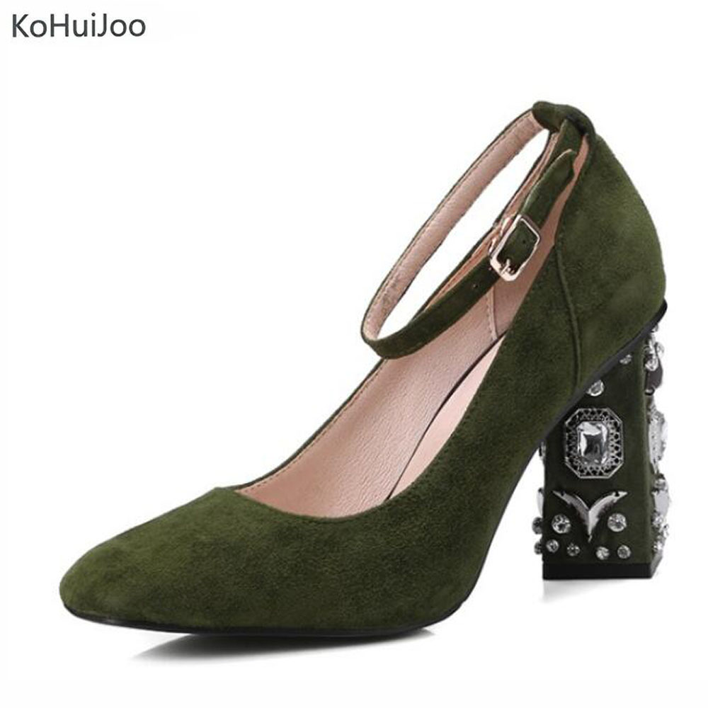2018 Spring Suede Leather Shoes Lady Fashion Crystal Fashion High Heel Ankle Strap Pumps Women Party Wedding Shoes Green Black 2017 new fashion brand spring shoes large size crystal pointed toe kid suede thick heel women pumps party sweet office lady shoe