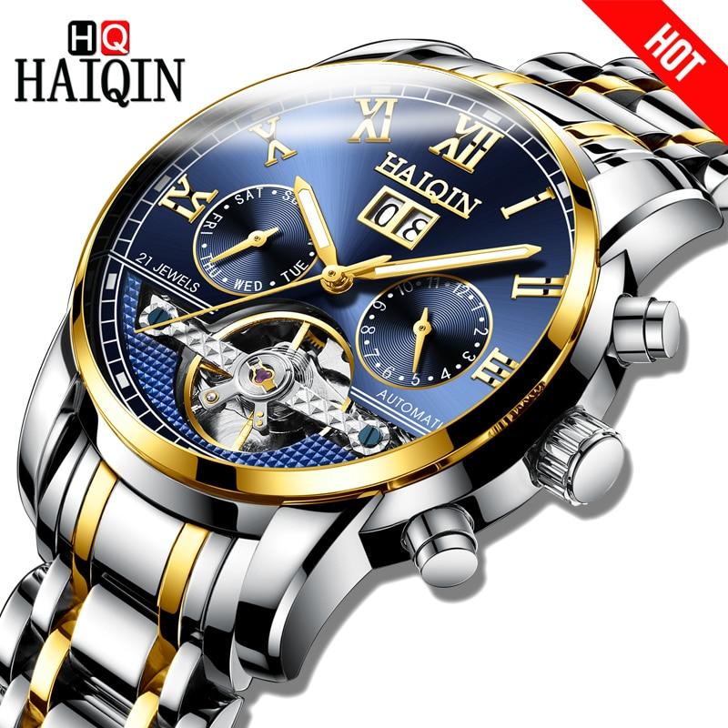 HAIQIN Men's Watch Gold Automatic Mechanical Bussiness Watch Men Tourbillon Steel Waterproof Male Date Clock Relogio Masculino