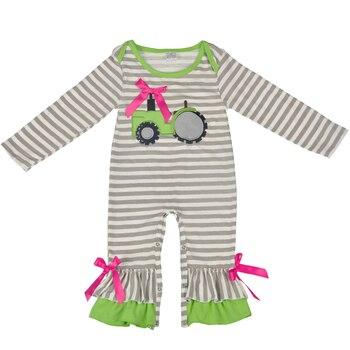 Venda quente Novo Projeto Queda Trator Bordado Boutique Infantil Bodysuit Bebê Manga Longa de Algodão Macacão de Bebê Meninas Roupas