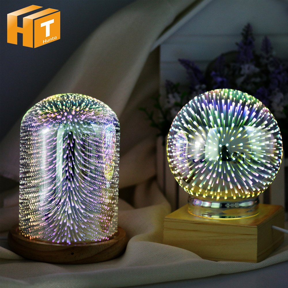 3D Illusion Night Light Oval Shaped LED Table Lamp 3D Meteor/Fireworks/Star/Love Heart Decorative Lamp USB Novelty Light тумба под телевизор луна 0391