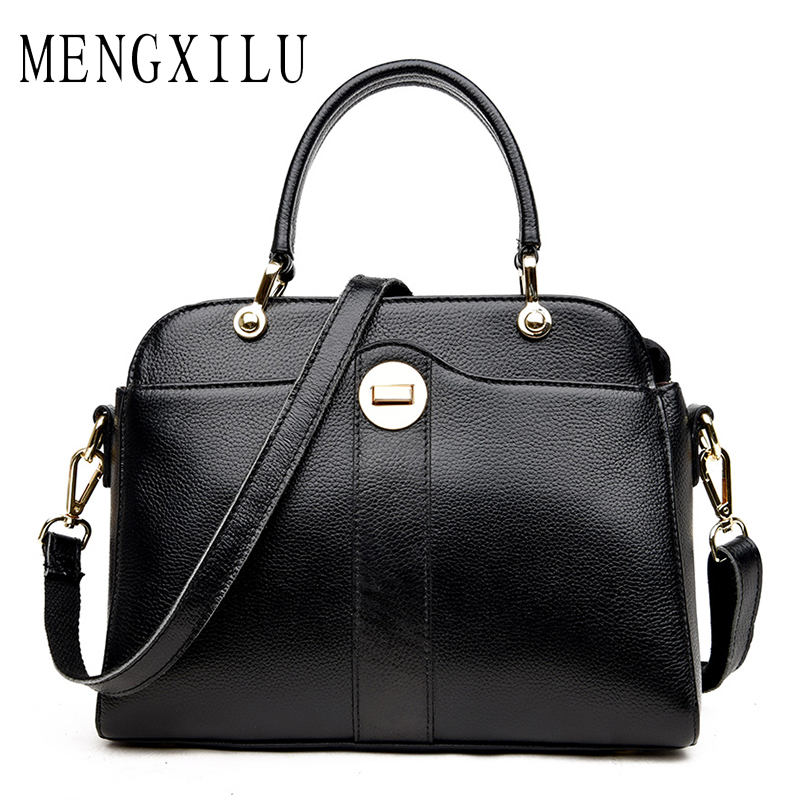 MENGXILU women handbag ladies genuine leather messenger bag women's big shoulder crossbody bag female large tote bag zipper 2017 luxury brand women handbag oil wax leather vintage casual tote large capacity shoulder bag big ladies messenger bag bolsa