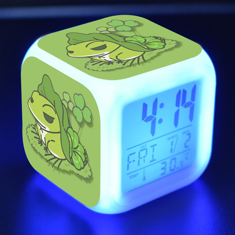 Game Figure Travel Frog Alarm Clock LED Colorful Flash Touch Light Figurine Desk Watch Toy