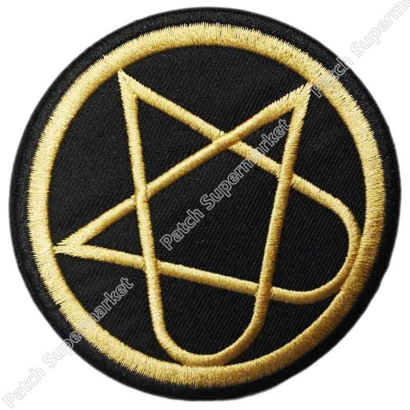 """3,5 """"él dorado heartagrama logo Banda de Música bordado de hierro en parche T shirt Transfer APPLIQUE Heavy Metal Rock Punk placa-in Parches from Hogar y Mascotas    1"""