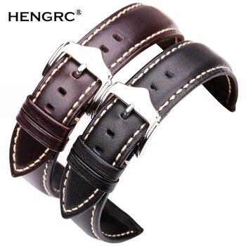 Correas de reloj suaves 18 19 20 21 22 24mm cuero genuino negro marrón oscuro VINTAGE correa de reloj de pulsera hebilla de Pin de acero plateado