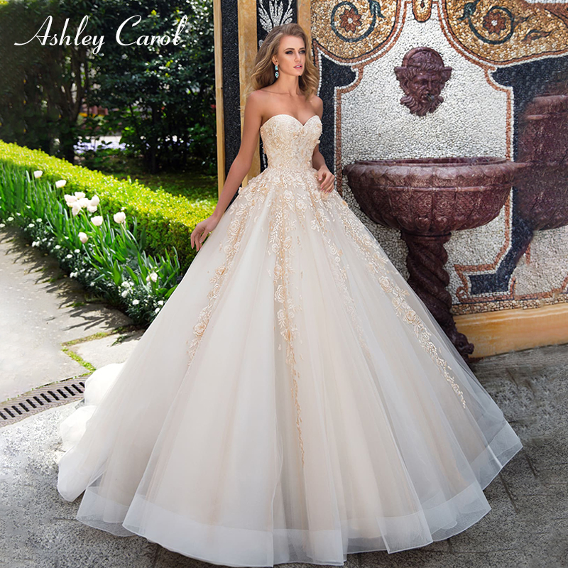 Ashley Carol Sexy Sweetheart Strapless Vintage Wedding Dress 2019 Floral Lace Up Court Train Dress Bride Princess Wedding Gowns