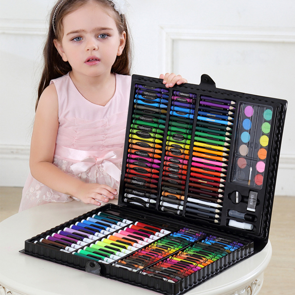 168PC Art Painting Watercolor Pen Set Pencil Crayon Eraser Pencil Sharpener Marker Pen Set Kindergarten Supplies Children's Gift