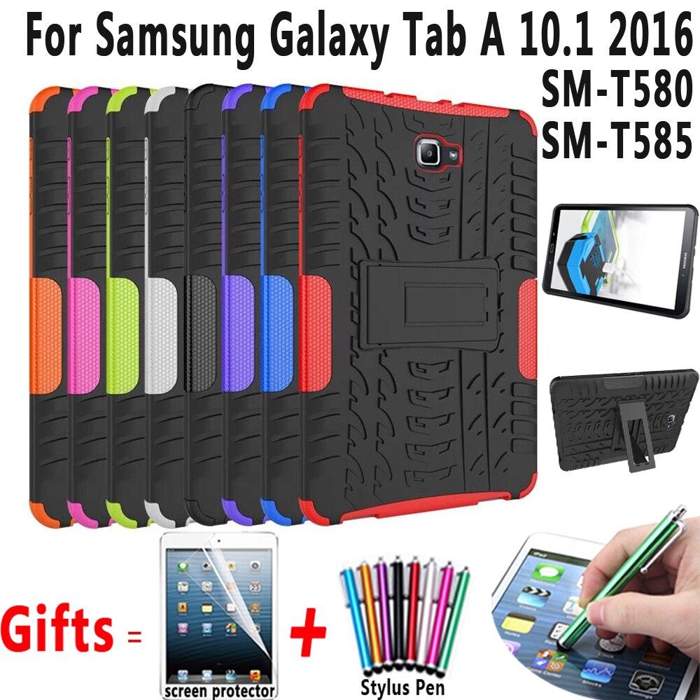 Pour Samsung Galaxy Tab 10.1 2016 Cas De Couverture T580 T585 armure Béquille Silicon Cover pour Tab A6 10.1 2016 SM-T580 SM-T585 cas