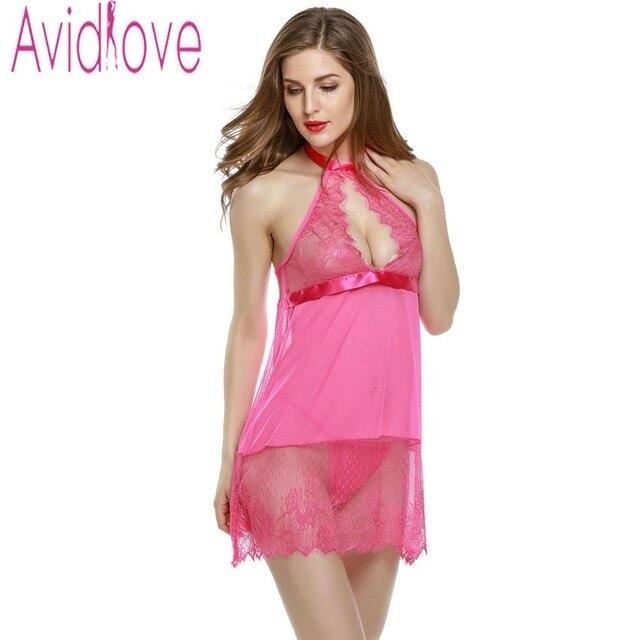 5e0617a9f3 Avidlove Babydoll Women Sexy Lingerie Sexy Halter Lace Chemise Sleepwear  Fantasias Eroticas Sheer Underwear + G