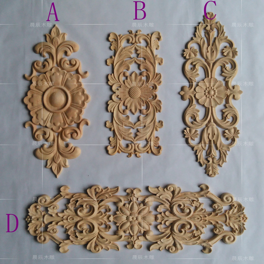 European style Furniture Applique Wooden Carved Corner Flower Door Decoration decorative flower(A760) flower applique grab bag
