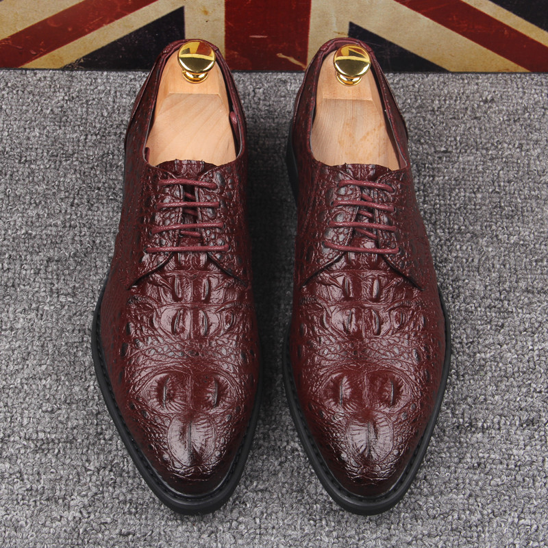 2017 Mens dress shoes Italian designer formal leather Lace-Up Business Wedding Formal Flats High Quality man Brogue Oxford shoes top quality crocodile grain black oxfords mens dress shoes genuine leather business shoes mens formal wedding shoes