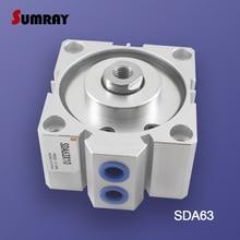 SUMRAY นิวเมติกกระบอก SDA ประเภท 63mm BORE 5/10/15/20/25/30/ 35/40/45/50 100 มม.คู่จังหวะ Action กระบอกสูบนิวเมติก