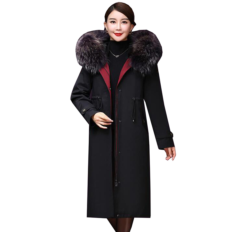 New Fashion 2018 Winter Women's 90% White Duck Down Jacket Thicken Long Down Coat Large Real Raccoon Fur Hooded Parka