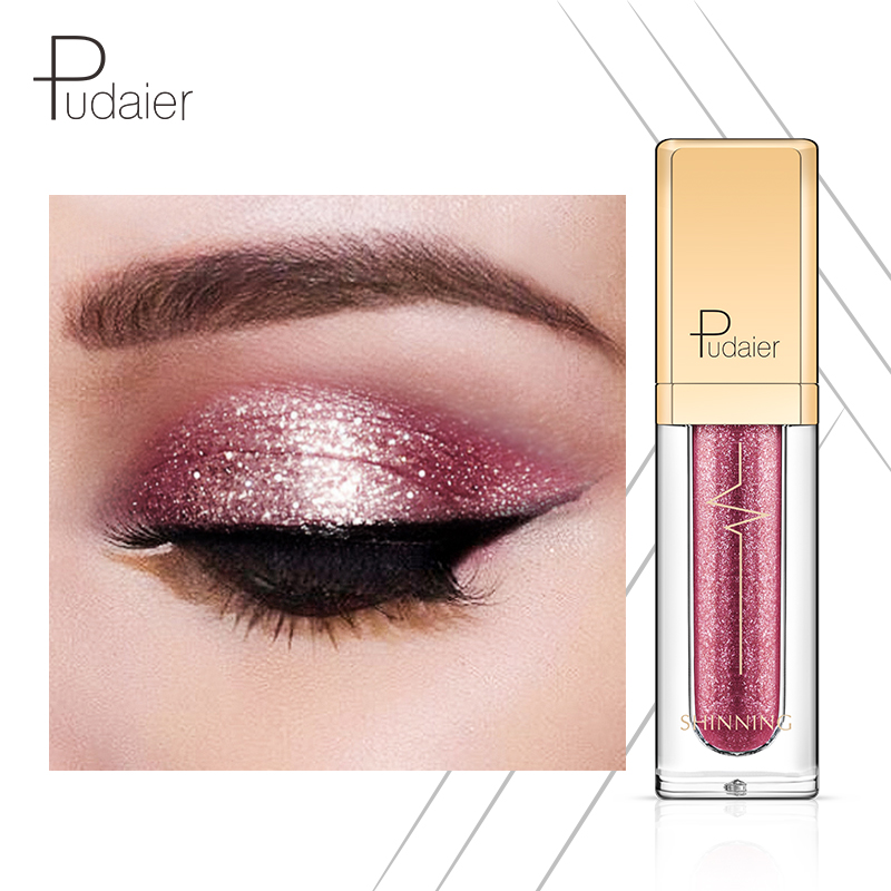Eye Shadow Beauty Essentials Pudaier Hot 18 Color Shine Liquid Eye Shadow Diamond Waterproof Long-lasting Eye Shadow Shining Stars Colorful Eye Shadow Makeup