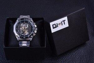 Image 5 - Forsining Militaire Sport Ontwerp Transparant Skeleton Dial Zilver Rvs Heren Horloges Top Brand Luxe Automatische Horloges