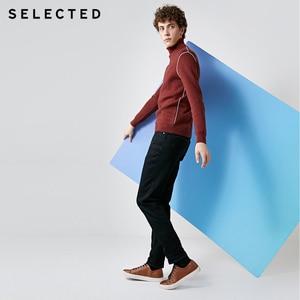 Image 4 - SELECTED Mens Autumn & Winter Fit Jeans Clothes Stretch Cotton Straight Denim Pants C