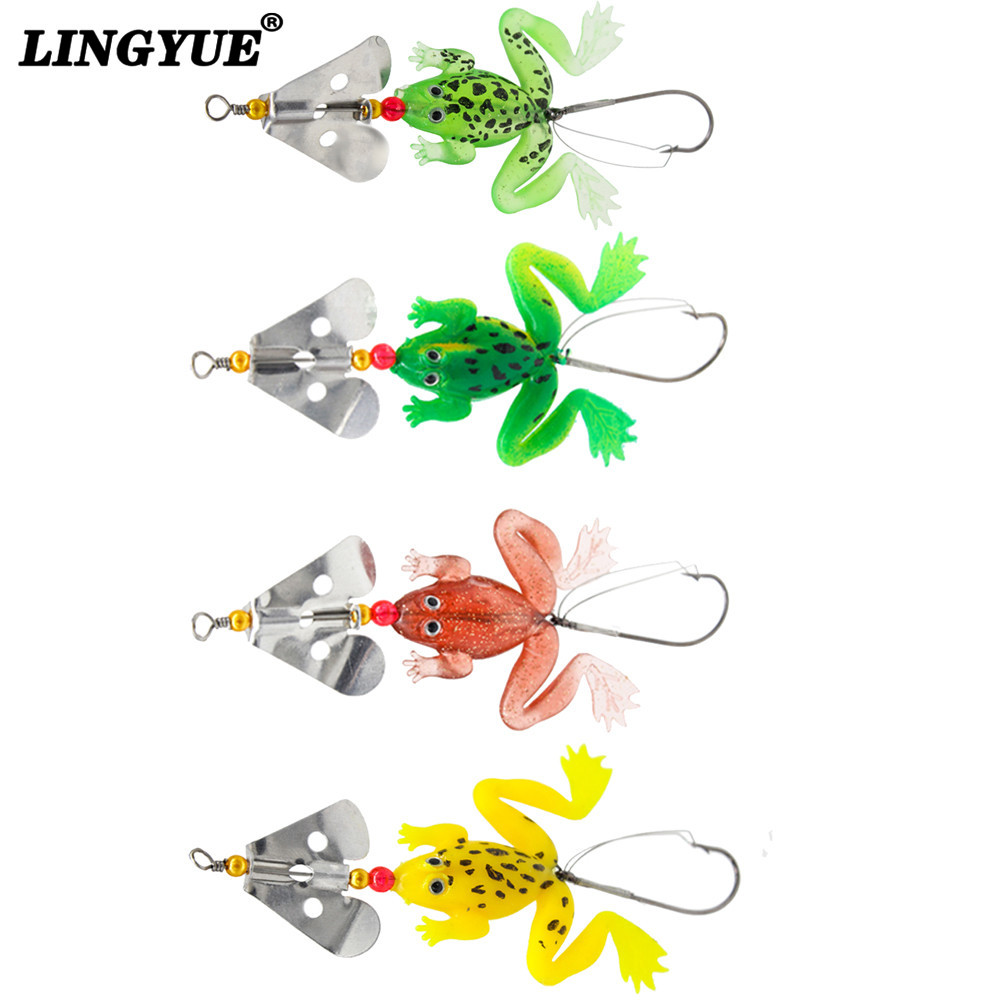 Купить со скидкой 2014 New frogs Fishing Lure Set 4pcs/LOT Rubber Soft Fishing Lures Bass SpinnerBait spoon Lures carp