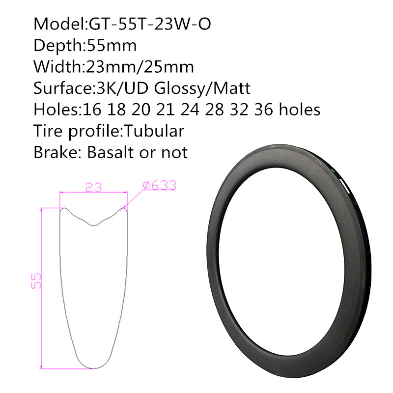 55mm 700C carbone roues vélo 23mm largeur Surface parfaite frein basalte haute température de freinage plaquettes libres NGT roues personnalisées