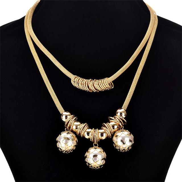 Pearl necklace collier femme collares statement Multilayer choker statement jewelry 2