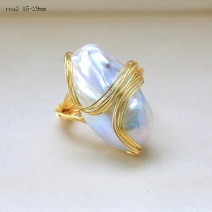 Image 2 - BaroqueOnly Handmade 15 30mm Big Baroque Beads Wire Wrapped Rings Natural Freshwater White Pearl Fashion Woman Party Jewelry ROA