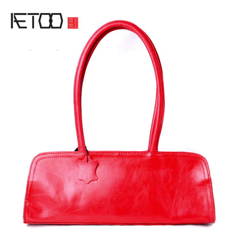 AETOO Literature and art leather handbags handbags first layer leather shoulder bag simple wild pillow bag Boston bag aetoo boston first layer of leather ladies handbag bag fashion simple simple large capacity handbags shoulder messenger bag