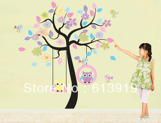 Promotion PVC Removable Cartoon Owl Tree Wall Stickers Home Decor Decals Large 2pcs=1set - DIY Decoration Sky store
